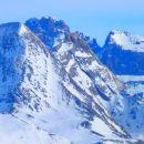 Pain de Sucre (3208 m - frontère Italie), Pic d'asti (3287 m) et Mont Viso (3841 m)