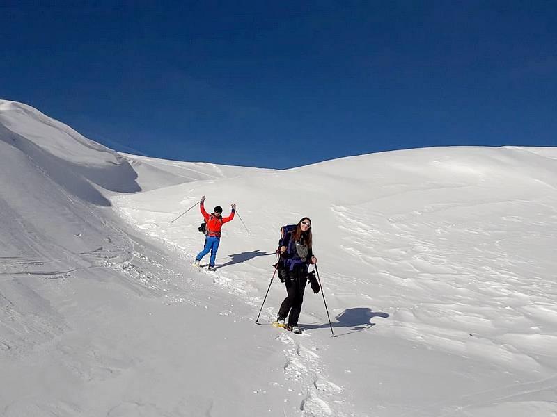 Raquettes haute montagne à Prali (Piémont)
