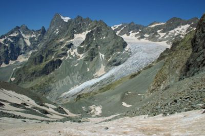 Le front du glacier Blanc vu depuis le glacier Jean Gauthier