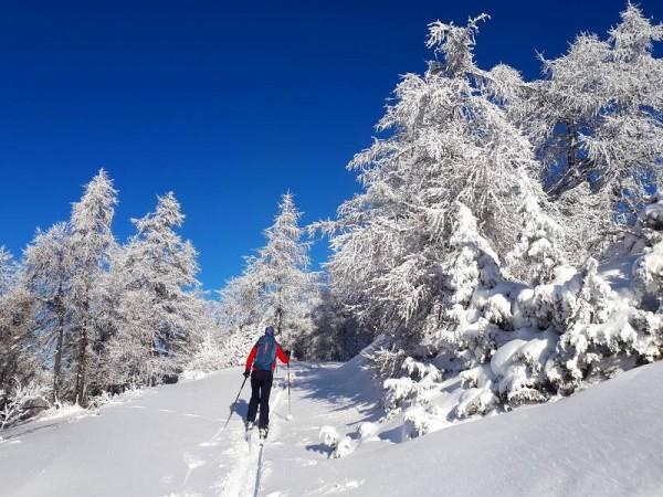 Montée dans la neige poudreuse dans le Queyras