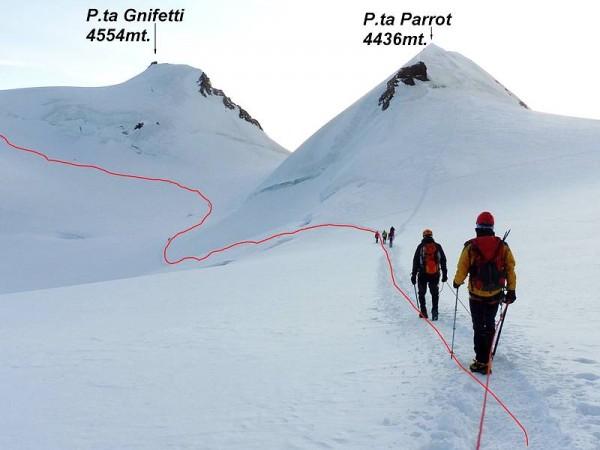Montée vers la Punta Gnifetti- Massif du Mont-Rose