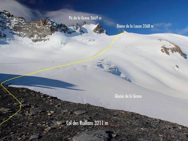 Itinéraire de montée au Dôme de la Lauze - Glacier de la Girose - Tour de la Meije